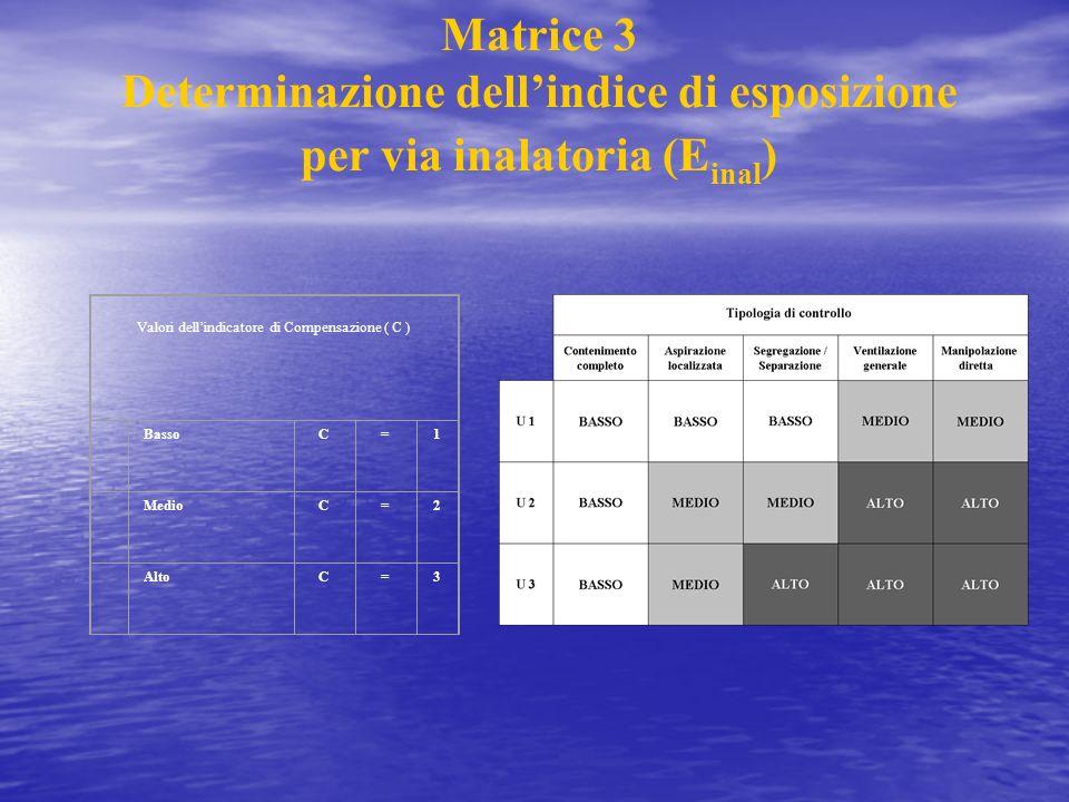 Matrice 3 Determinazione dellindice di esposizione per via inalatoria (E inal ) Valori dellindicatore di Compensazione ( C ) BassoC=1 MedioC=2 AltoC=3