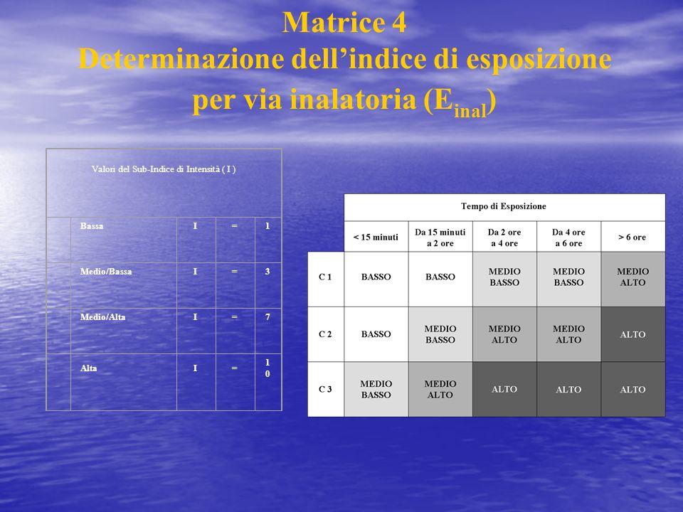 Matrice 4 Determinazione dellindice di esposizione per via inalatoria (E inal ) Valori del Sub-Indice di Intensità ( I ) BassaI=1 Medio/BassaI=3 Medio