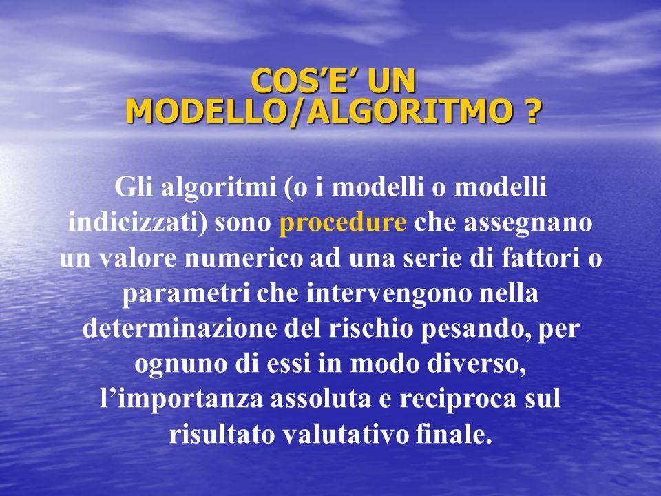 Gli algoritmi (o i modelli o modelli indicizzati) sono procedure che assegnano un valore numerico ad una serie di fattori o parametri che intervengono