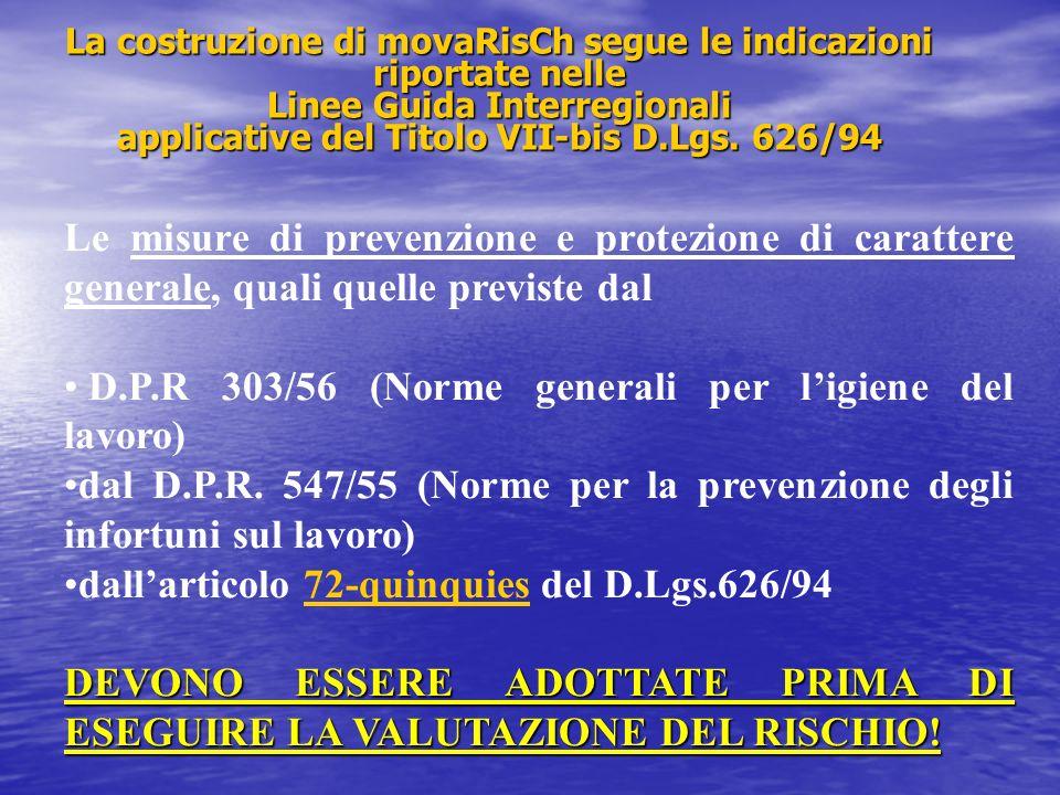 Le misure di prevenzione e protezione di carattere generale, quali quelle previste dal D.P.R 303/56 (Norme generali per ligiene del lavoro) dal D.P.R.