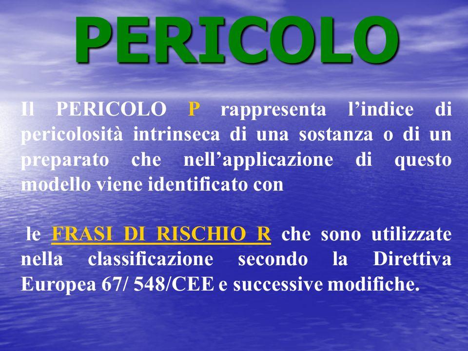 Il PERICOLO P rappresenta lindice di pericolosità intrinseca di una sostanza o di un preparato che nellapplicazione di questo modello viene identifica
