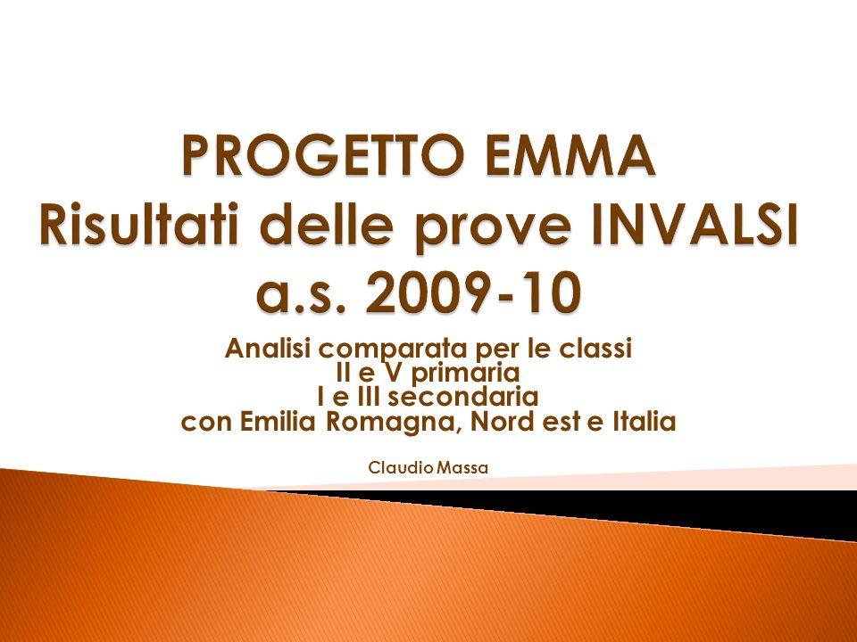 Analisi comparata per le classi II e V primaria I e III secondaria con Emilia Romagna, Nord est e Italia Claudio Massa