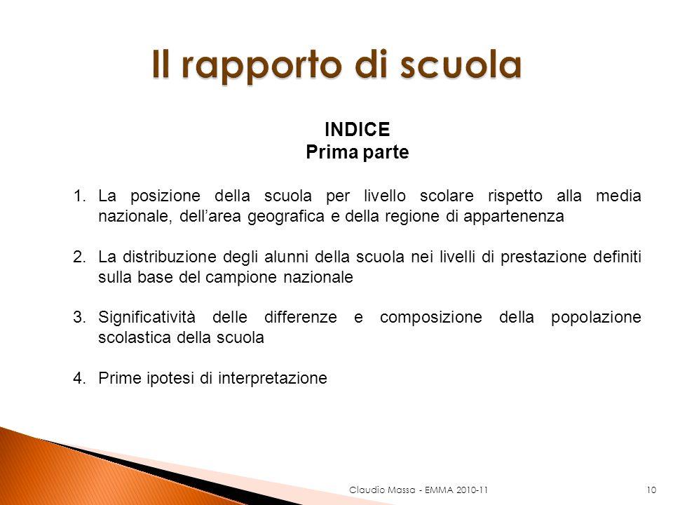 Claudio Massa - EMMA 2010-1110 INDICE Prima parte 1.La posizione della scuola per livello scolare rispetto alla media nazionale, dellarea geografica e