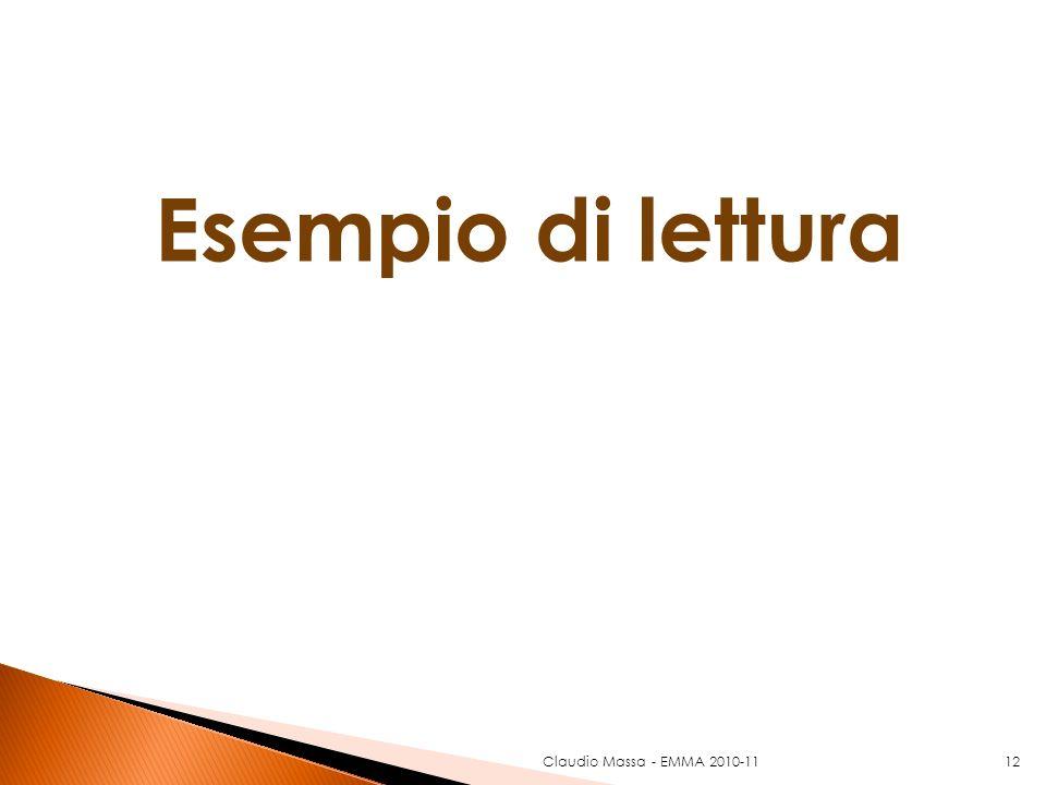 Esempio di lettura Claudio Massa - EMMA 2010-1112
