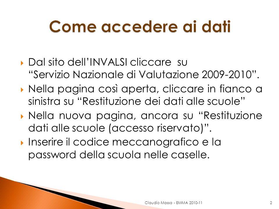 Claudio Massa - EMMA 2010-112 Dal sito dellINVALSI cliccare su Servizio Nazionale di Valutazione 2009-2010. Nella pagina così aperta, cliccare in fian