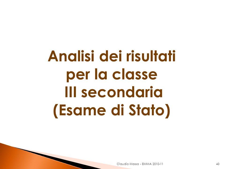 43 Analisi dei risultati per la classe III secondaria (Esame di Stato) Claudio Massa - EMMA 2010-11