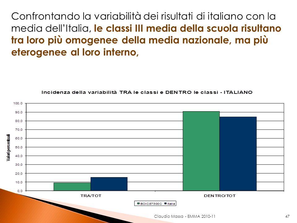 47 Confrontando la variabilità dei risultati di italiano con la media dellItalia, le classi III media della scuola risultano tra loro più omogenee del