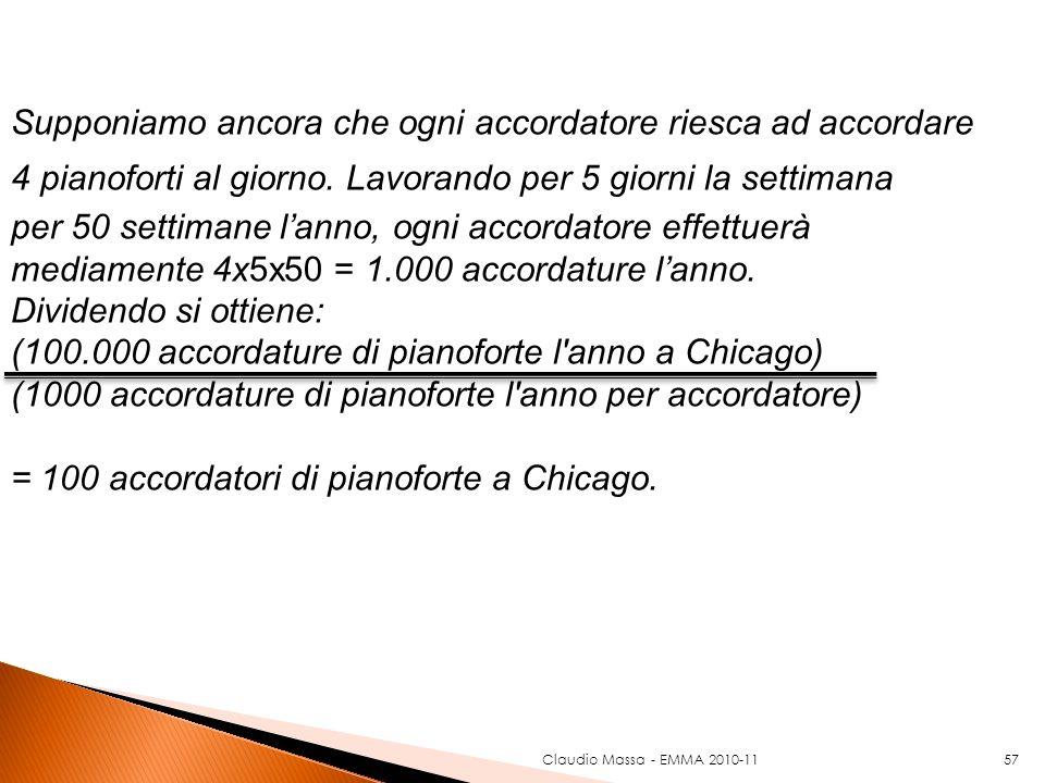 Claudio Massa - EMMA 2010-1157 Supponiamo ancora che ogni accordatore riesca ad accordare 4 pianoforti al giorno. Lavorando per 5 giorni la settimana