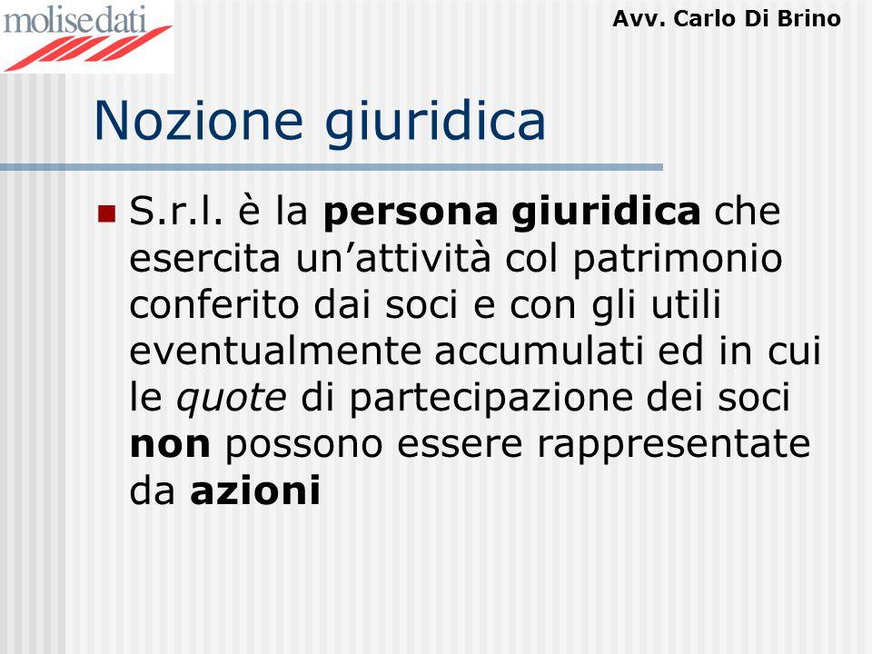 Avv. Carlo Di Brino Nozione giuridica S.r.l. è la persona giuridica che esercita unattività col patrimonio conferito dai soci e con gli utili eventual