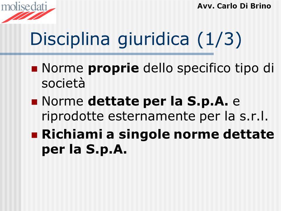 Avv. Carlo Di Brino Disciplina giuridica (1/3) Norme proprie dello specifico tipo di società Norme dettate per la S.p.A. e riprodotte esternamente per
