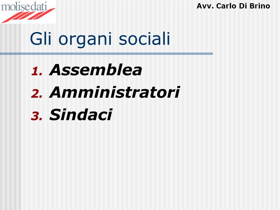 Avv. Carlo Di Brino Gli organi sociali 1. Assemblea 2. Amministratori 3. Sindaci