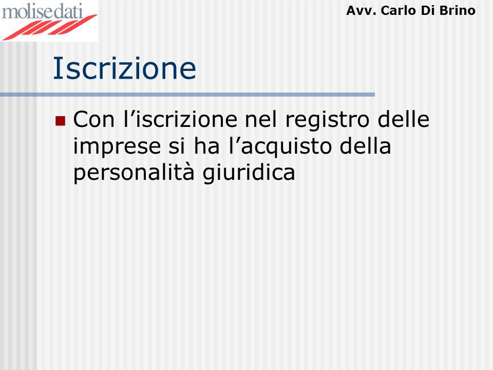 Avv. Carlo Di Brino Iscrizione Con liscrizione nel registro delle imprese si ha lacquisto della personalità giuridica