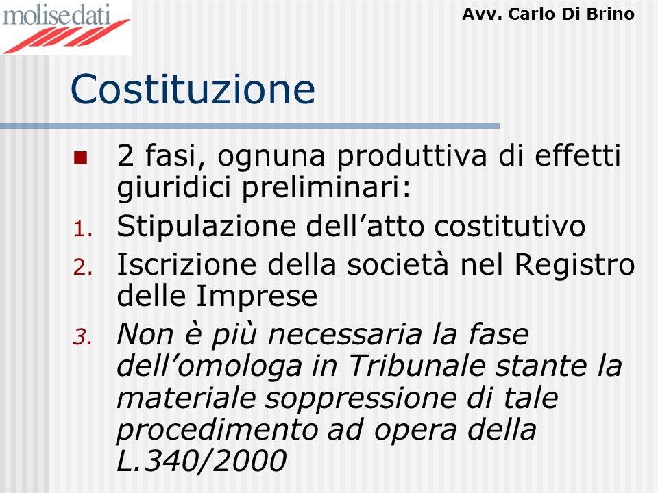 Avv. Carlo Di Brino Costituzione 2 fasi, ognuna produttiva di effetti giuridici preliminari: 1. Stipulazione dellatto costitutivo 2. Iscrizione della