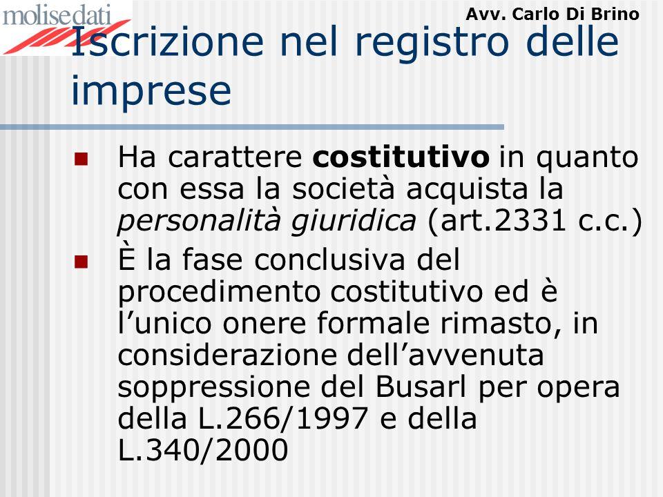 Avv. Carlo Di Brino Iscrizione nel registro delle imprese Ha carattere costitutivo in quanto con essa la società acquista la personalità giuridica (ar