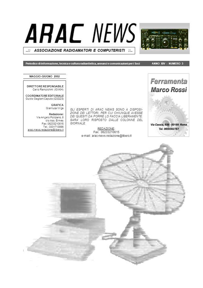 ANNO XIV - NUMERO 3 MAGGIO-GIUGNO 2002..:: ASSOCIAZIONE RADIOAMATORI E COMPUTERISTI ::.. DIRETTORE RESPONSABILE Carlo Rampichini (I0XKH) COORDINATORE