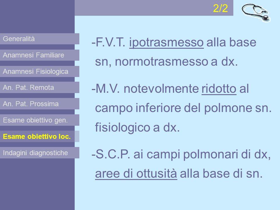 Anamnesi Familiare Anamnesi Fisiologica Esame obiettivo gen. Esame obiettivo loc. Indagini diagnostiche An. Pat. Remota An. Pat. Prossima -F.V.T. ipot