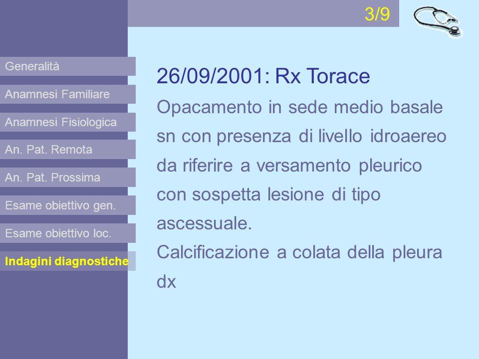 Anamnesi Familiare Anamnesi Fisiologica Esame obiettivo gen. Esame obiettivo loc. Indagini diagnostiche An. Pat. Remota An. Pat. Prossima 26/09/2001: