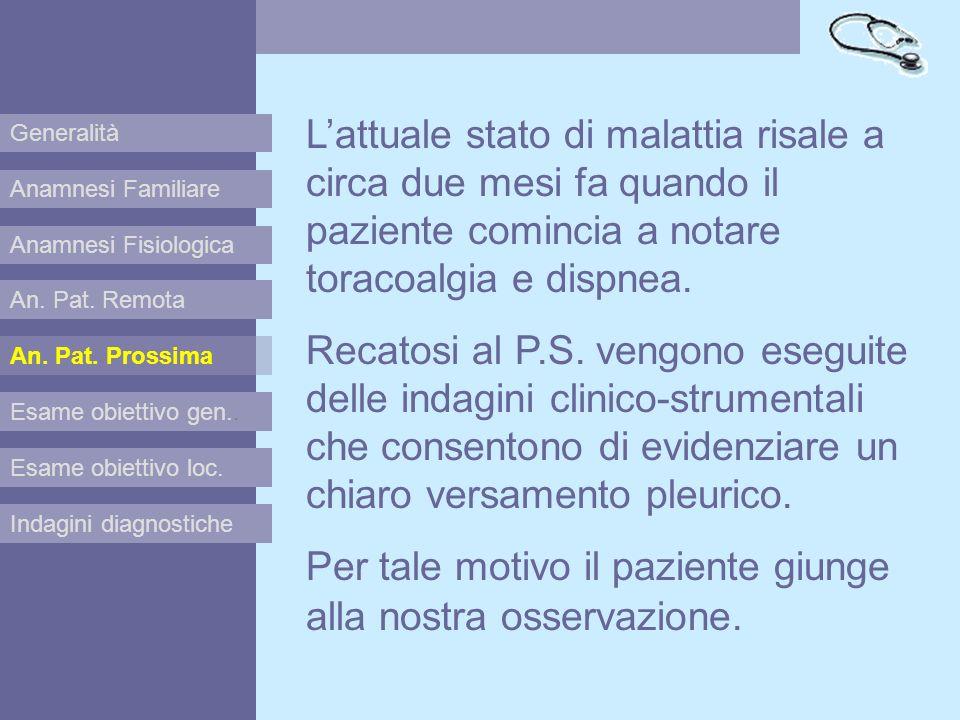 Anamnesi Familiare Anamnesi Fisiologica Esame obiettivo gen.. Esame obiettivo loc. Indagini diagnostiche An. Pat. Remota An. Pat. Prossima Lattuale st