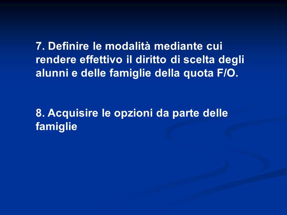 7. Definire le modalità mediante cui rendere effettivo il diritto di scelta degli alunni e delle famiglie della quota F/O. 8. Acquisire le opzioni da