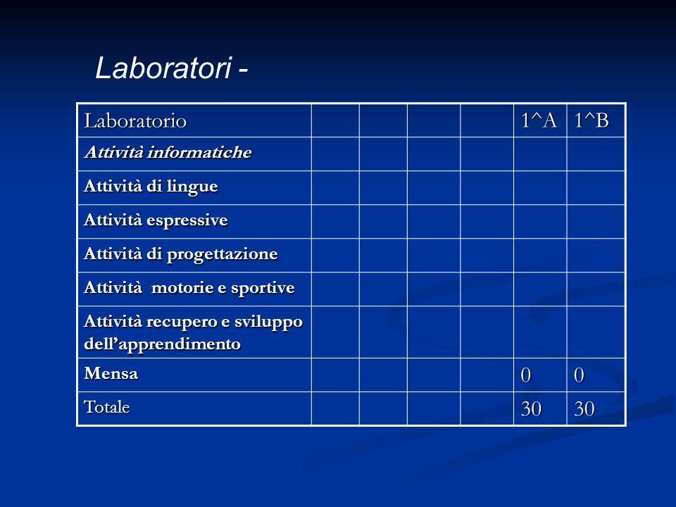 Laboratorio1^A1^B Attività informatiche Attività di lingue Attività espressive Attività di progettazione Attività motorie e sportive Attività recupero