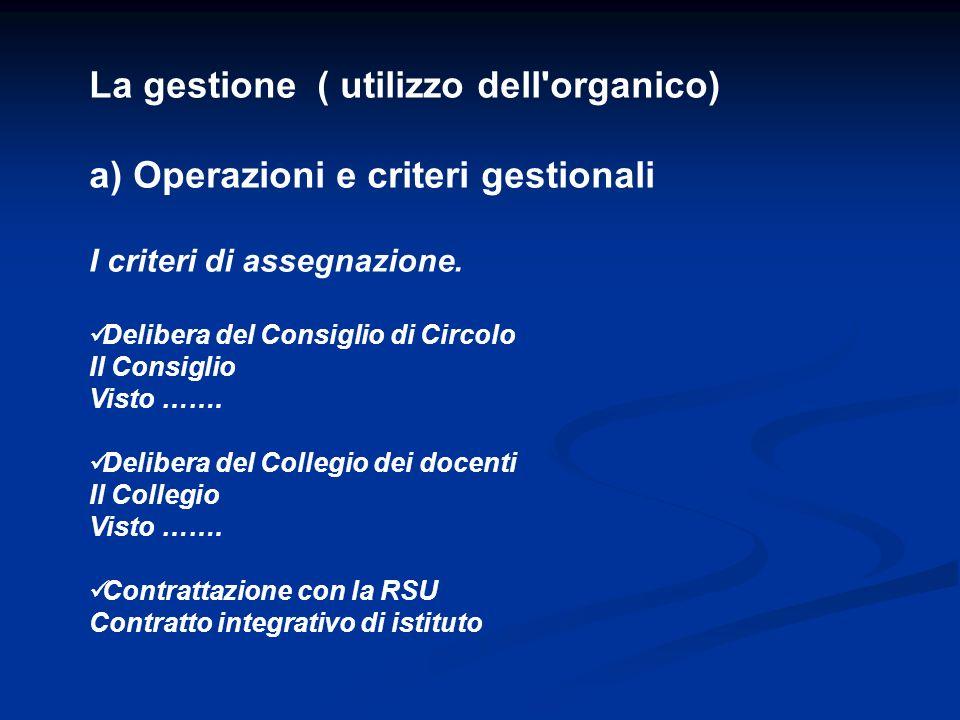La gestione ( utilizzo dell'organico) a) Operazioni e criteri gestionali I criteri di assegnazione. Delibera del Consiglio di Circolo Il Consiglio Vis