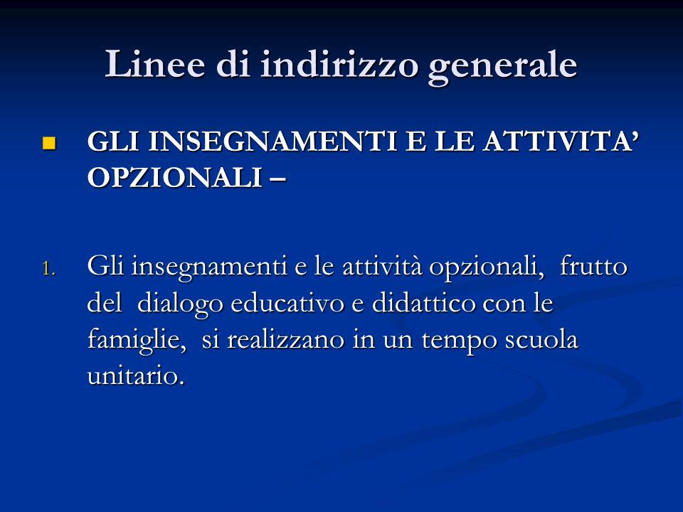 Linee di indirizzo generale GLI INSEGNAMENTI E LE ATTIVITA OPZIONALI – GLI INSEGNAMENTI E LE ATTIVITA OPZIONALI – 1.