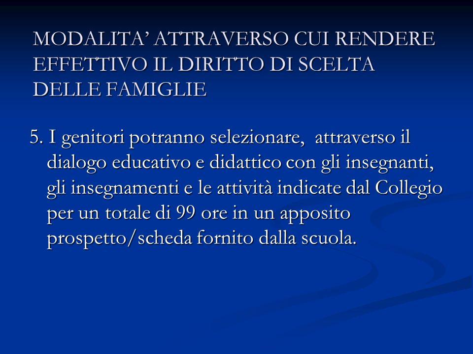 MODALITA ATTRAVERSO CUI RENDERE EFFETTIVO IL DIRITTO DI SCELTA DELLE FAMIGLIE 5.