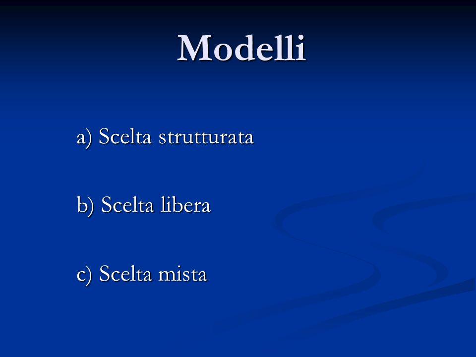 Modelli a) Scelta strutturata b) Scelta libera c) Scelta mista