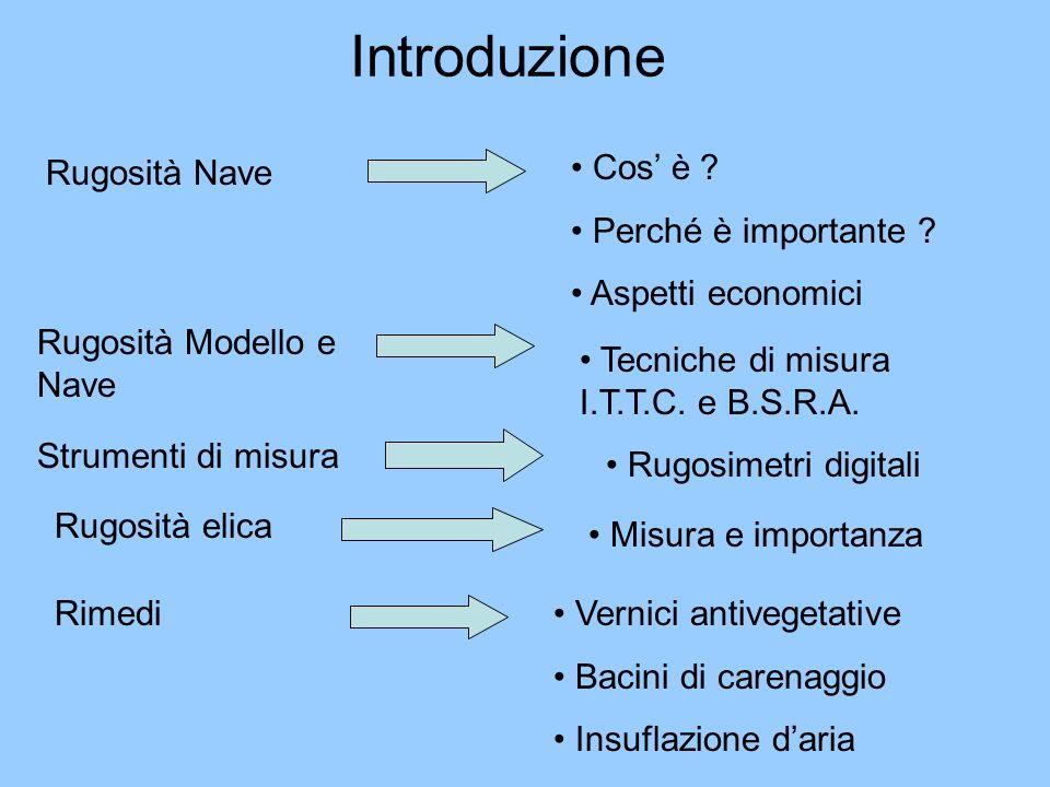 Introduzione Rugosità Nave Rugosità Modello e Nave Cos è ? Perché è importante ? Aspetti economici Tecniche di misura I.T.T.C. e B.S.R.A. Rimedi Strum