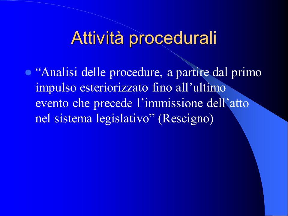 Attività procedurali Analisi delle procedure, a partire dal primo impulso esteriorizzato fino allultimo evento che precede limmissione dellatto nel sistema legislativo (Rescigno)