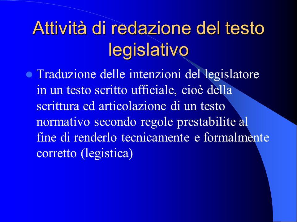 Attività di redazione del testo legislativo Traduzione delle intenzioni del legislatore in un testo scritto ufficiale, cioè della scrittura ed articol