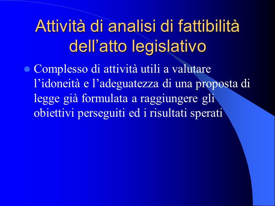 Attività di analisi di fattibilità dellatto legislativo Complesso di attività utili a valutare lidoneità e ladeguatezza di una proposta di legge già f