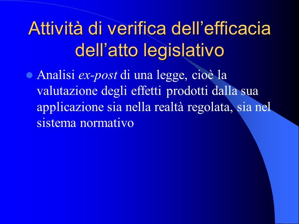 Attività di verifica dellefficacia dellatto legislativo Analisi ex-post di una legge, cioè la valutazione degli effetti prodotti dalla sua applicazione sia nella realtà regolata, sia nel sistema normativo