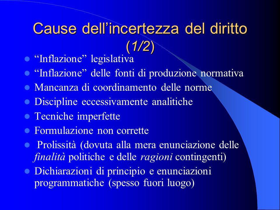 Cause dellincertezza del diritto (1/2) Inflazione legislativa Inflazione delle fonti di produzione normativa Mancanza di coordinamento delle norme Dis