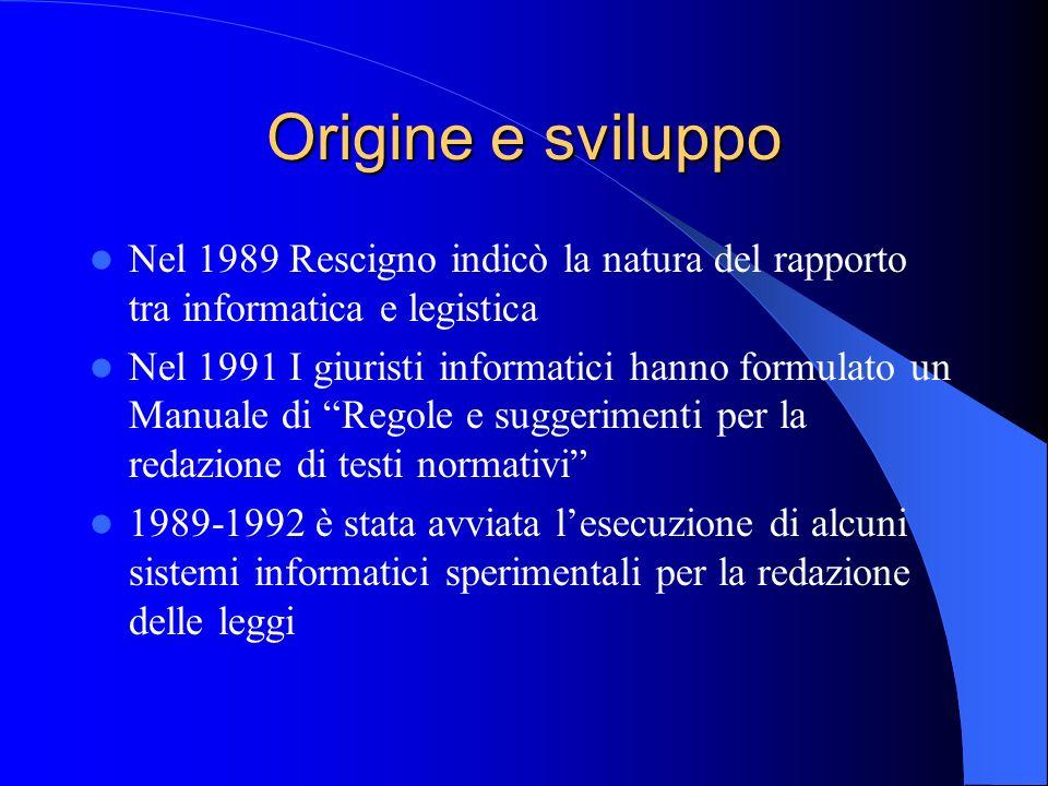 Origine e sviluppo Nel 1989 Rescigno indicò la natura del rapporto tra informatica e legistica Nel 1991 I giuristi informatici hanno formulato un Manu