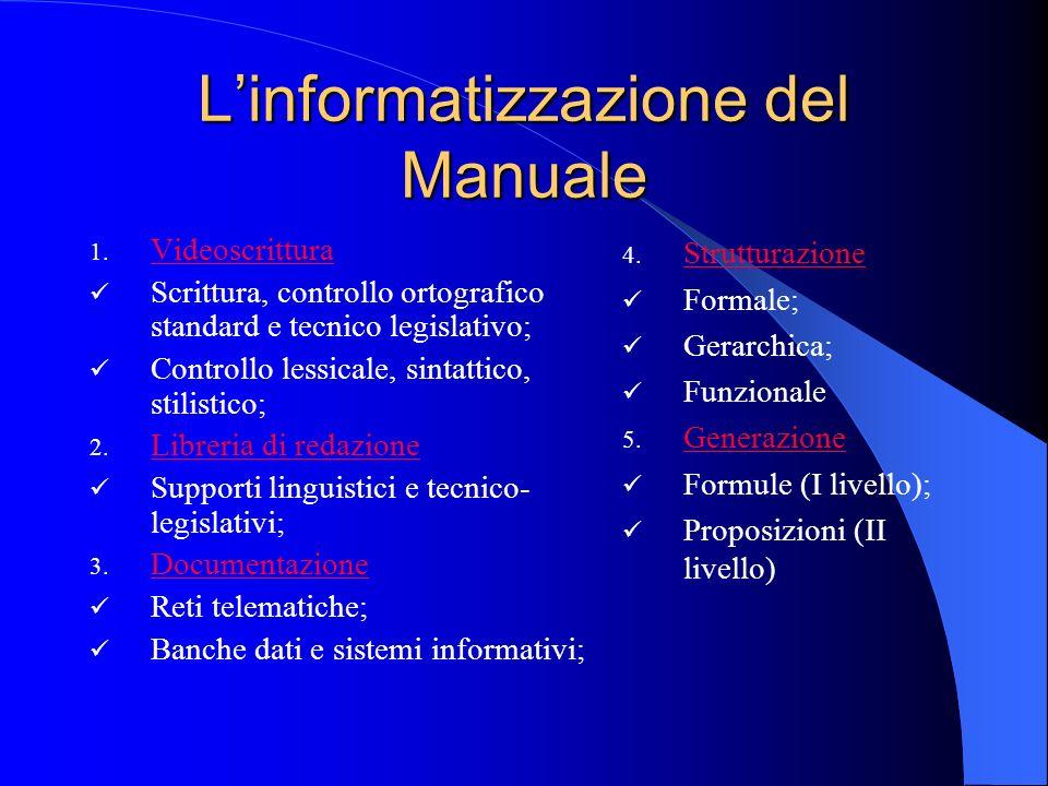 Linformatizzazione del Manuale 1. Videoscrittura Videoscrittura Scrittura, controllo ortografico standard e tecnico legislativo; Controllo lessicale,