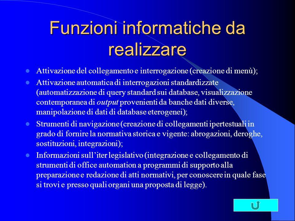 Funzioni informatiche da realizzare Attivazione del collegamento e interrogazione (creazione di menù); Attivazione automatica di interrogazioni standa