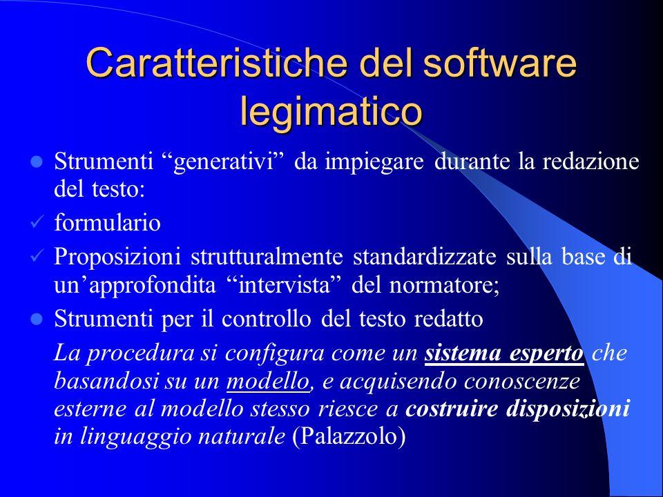 Caratteristiche del software legimatico Strumenti generativi da impiegare durante la redazione del testo: formulario Proposizioni strutturalmente stan