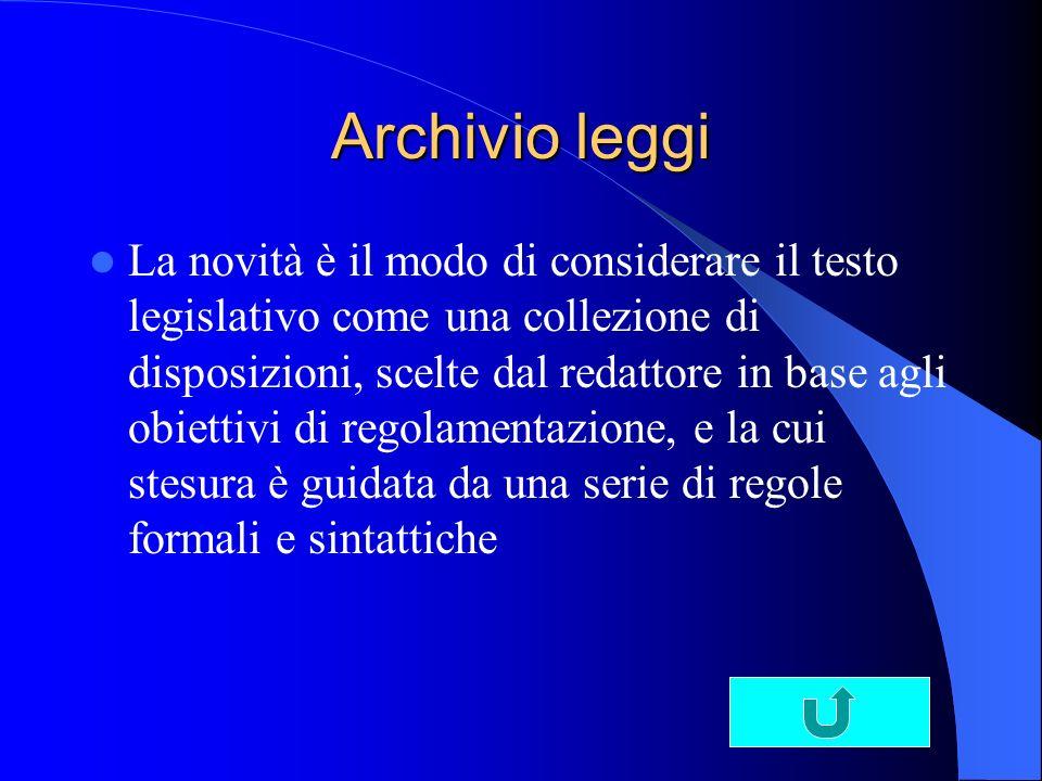 Archivio leggi La novità è il modo di considerare il testo legislativo come una collezione di disposizioni, scelte dal redattore in base agli obiettivi di regolamentazione, e la cui stesura è guidata da una serie di regole formali e sintattiche