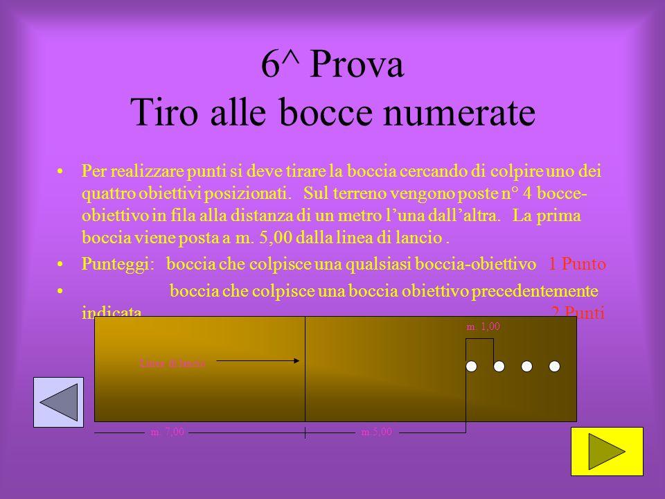 6^ Prova Tiro alle bocce numerate Per realizzare punti si deve tirare la boccia cercando di colpire uno dei quattro obiettivi posizionati.