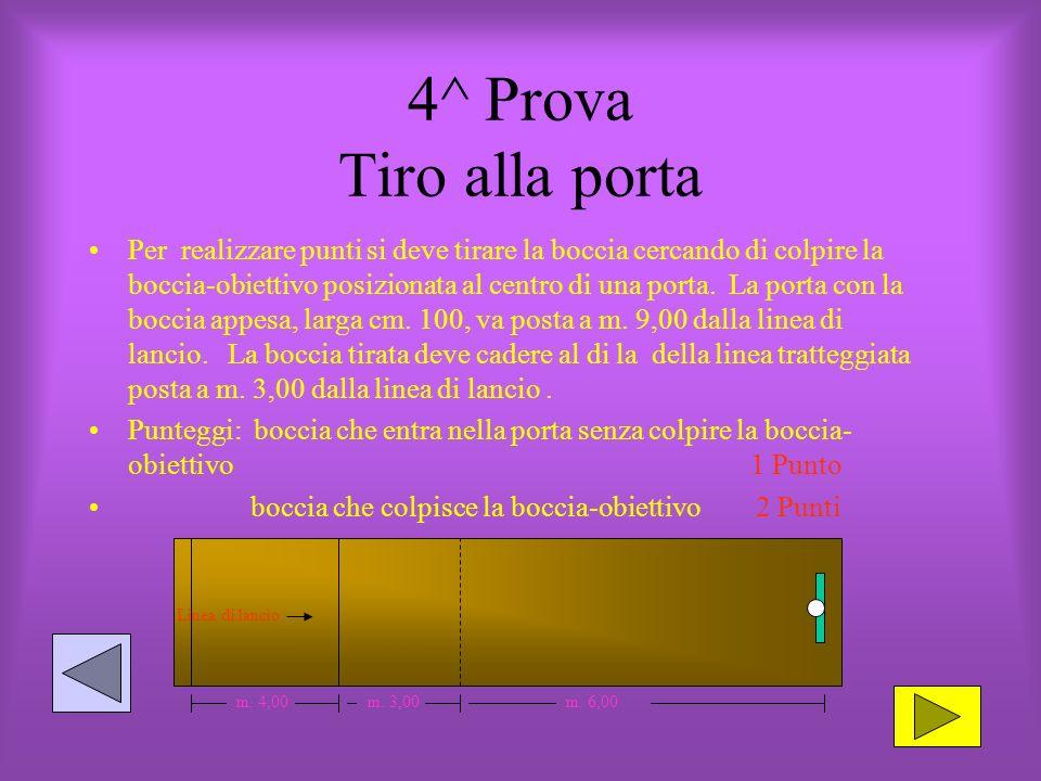 4^ Prova Tiro alla porta Per realizzare punti si deve tirare la boccia cercando di colpire la boccia-obiettivo posizionata al centro di una porta.