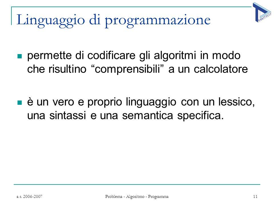 a.s. 2006-2007 Problema - Algoritmo - Programma 11 Linguaggio di programmazione permette di codificare gli algoritmi in modo che risultino comprensibi