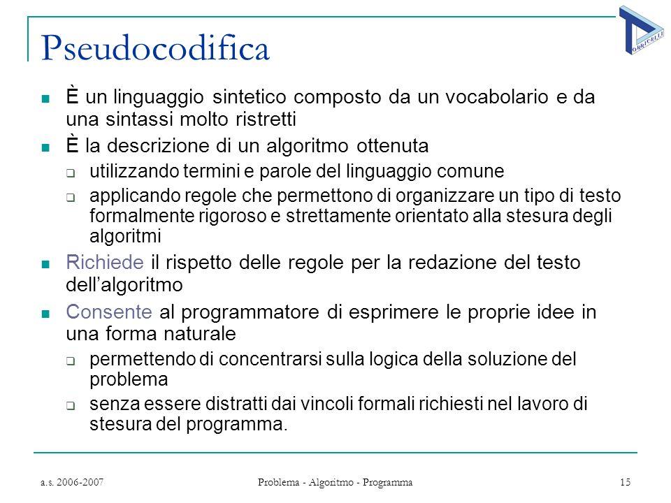 a.s. 2006-2007 Problema - Algoritmo - Programma 15 Pseudocodifica È un linguaggio sintetico composto da un vocabolario e da una sintassi molto ristret
