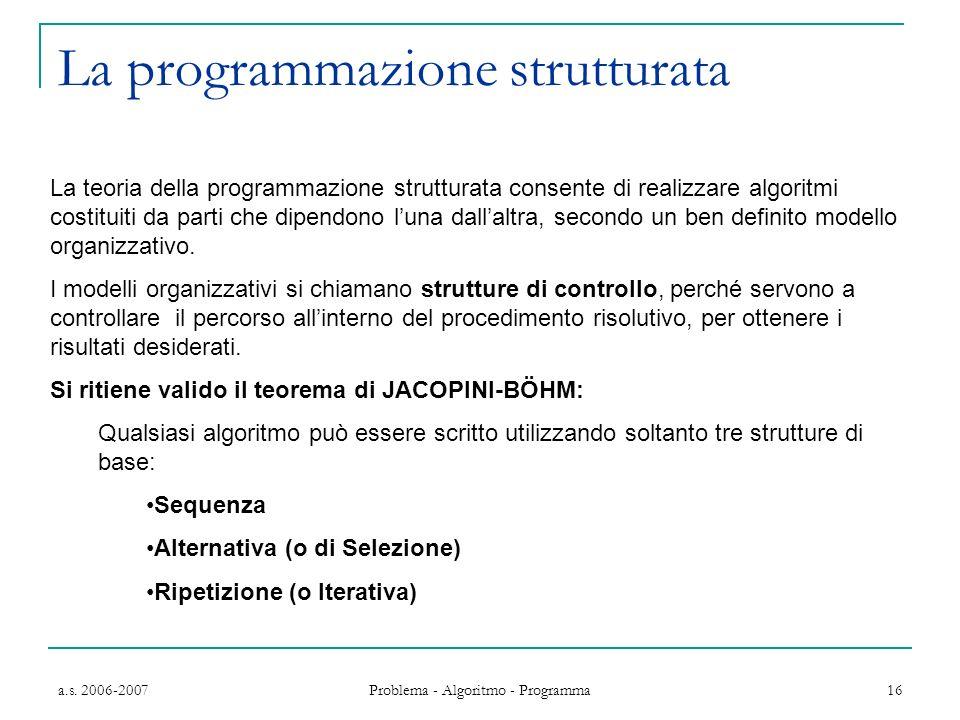 a.s. 2006-2007 Problema - Algoritmo - Programma 16 La programmazione strutturata La teoria della programmazione strutturata consente di realizzare alg