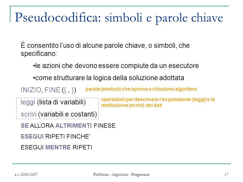 a.s. 2006-2007 Problema - Algoritmo - Programma 17 È consentito luso di alcune parole chiave, o simboli, che specificano: le azioni che devono essere