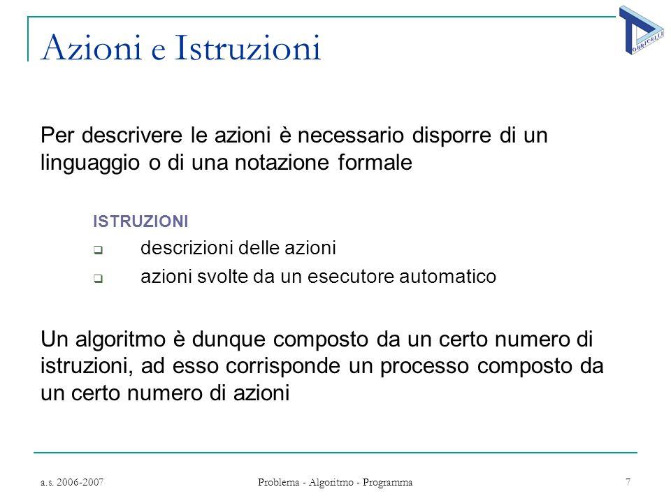 a.s. 2006-2007 Problema - Algoritmo - Programma 7 Azioni e Istruzioni Per descrivere le azioni è necessario disporre di un linguaggio o di una notazio