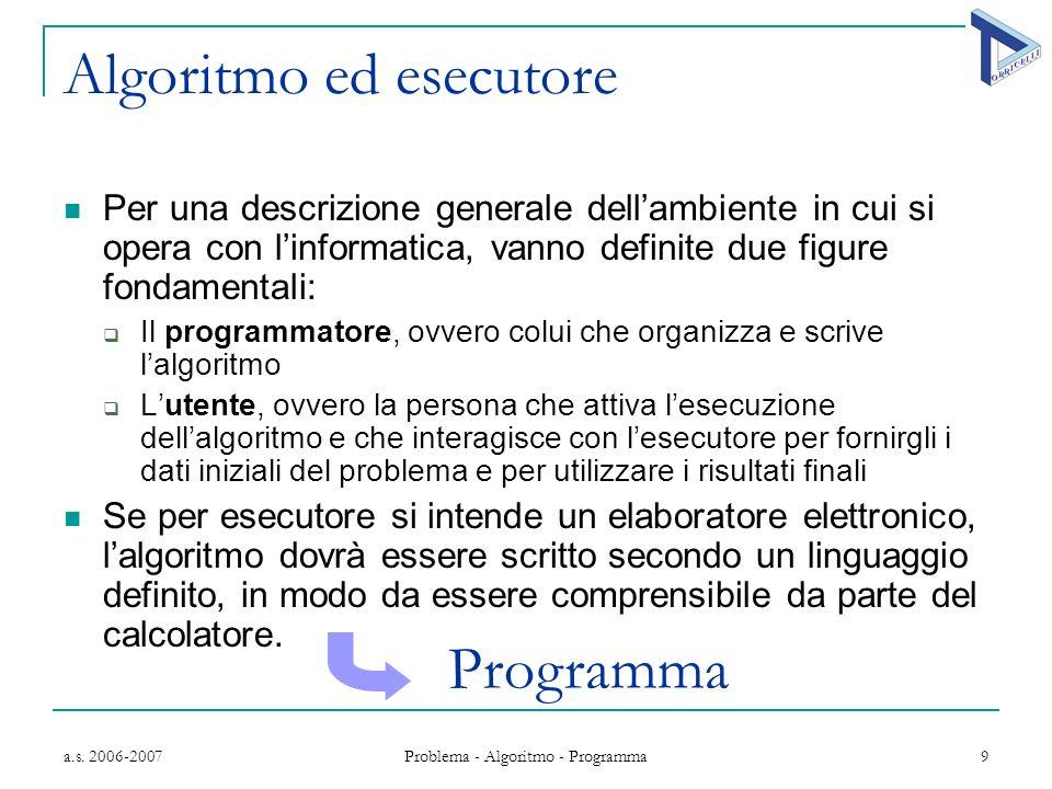 a.s. 2006-2007 Problema - Algoritmo - Programma 9 Algoritmo ed esecutore Per una descrizione generale dellambiente in cui si opera con linformatica, v