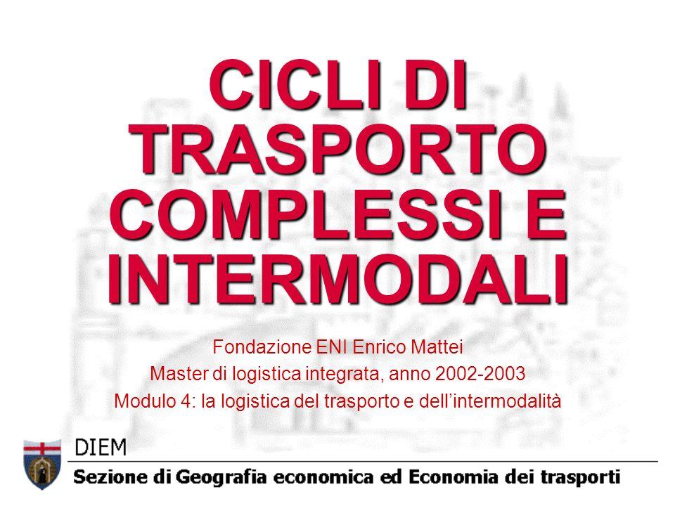 CICLI DI TRASPORTO COMPLESSI E INTERMODALI Fondazione ENI Enrico Mattei Master di logistica integrata, anno 2002-2003 Modulo 4: la logistica del trasp