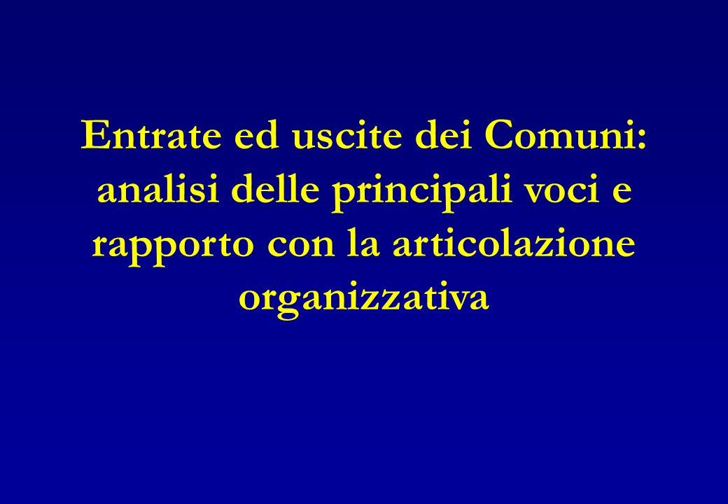 Entrate ed uscite dei Comuni: analisi delle principali voci e rapporto con la articolazione organizzativa