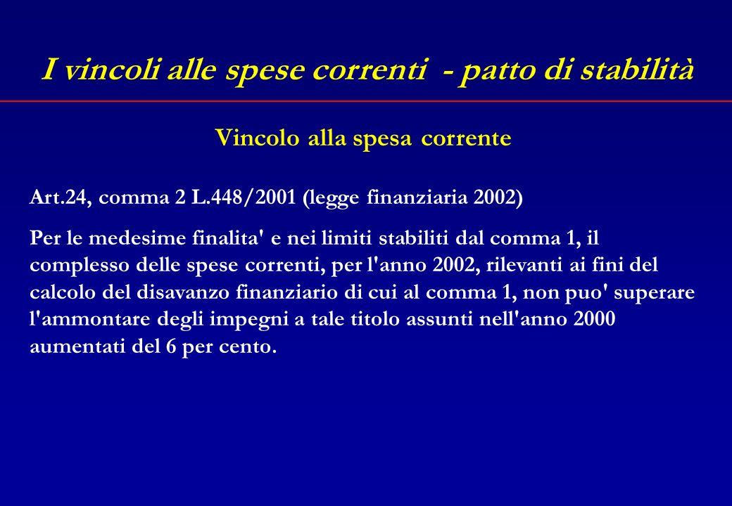 I vincoli alle spese correnti - patto di stabilità Art.24, comma 1 L.448/2001 (legge finanziaria 2002) Ai fini del concorso delle autonomie locali al